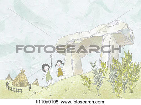 Stock Illustration of Dolmen and prehistoric habitat ti110a0108.
