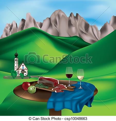 Clip Art Vector of Dolomite landscape with typical products: speck.