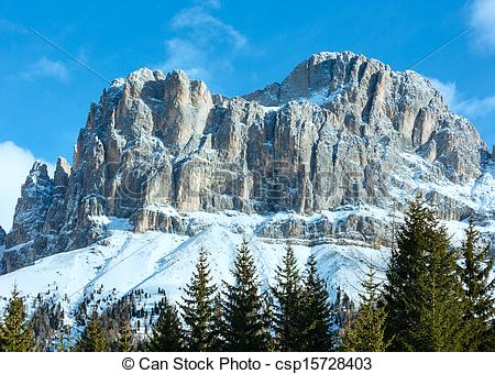 Stock Photography of Beautiful winter rocky mountain landscape.