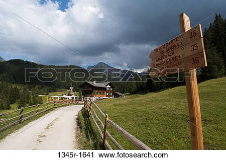 Stock Photography of Street name sign on roadside, Santa Maddalena.