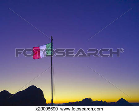 Stock Photography of Italian flag in the Dolomites. x23095690.