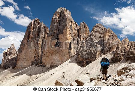 Picture of Drei Zinnen or Tre Cime di Lavaredo with hiker.