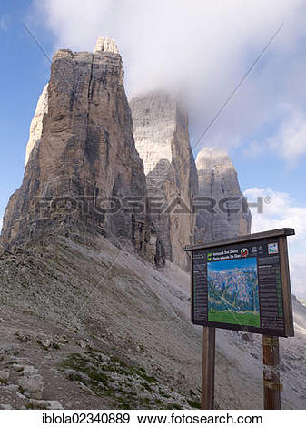"""Stock Photograph of """"Sign, signpost for hiking trails, Tre Cime di."""