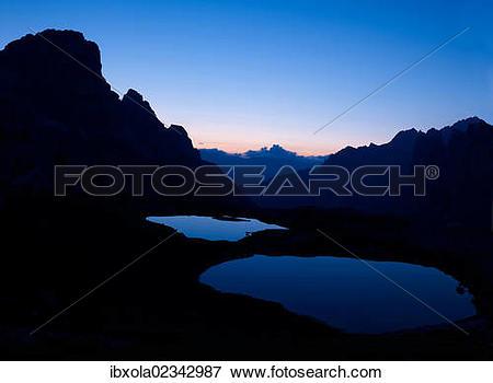 """Picture of """"Boedenseen lakes at dawn, Dolomiti di Sesto National."""