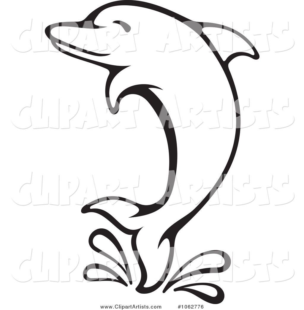 Dolphin Clip Art Black and White.