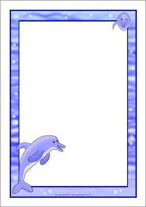 Clipart dolphin border paper, Clipart dolphin border paper.