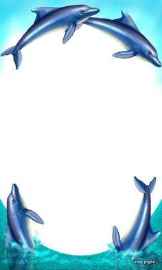 Dolphin clipart border.