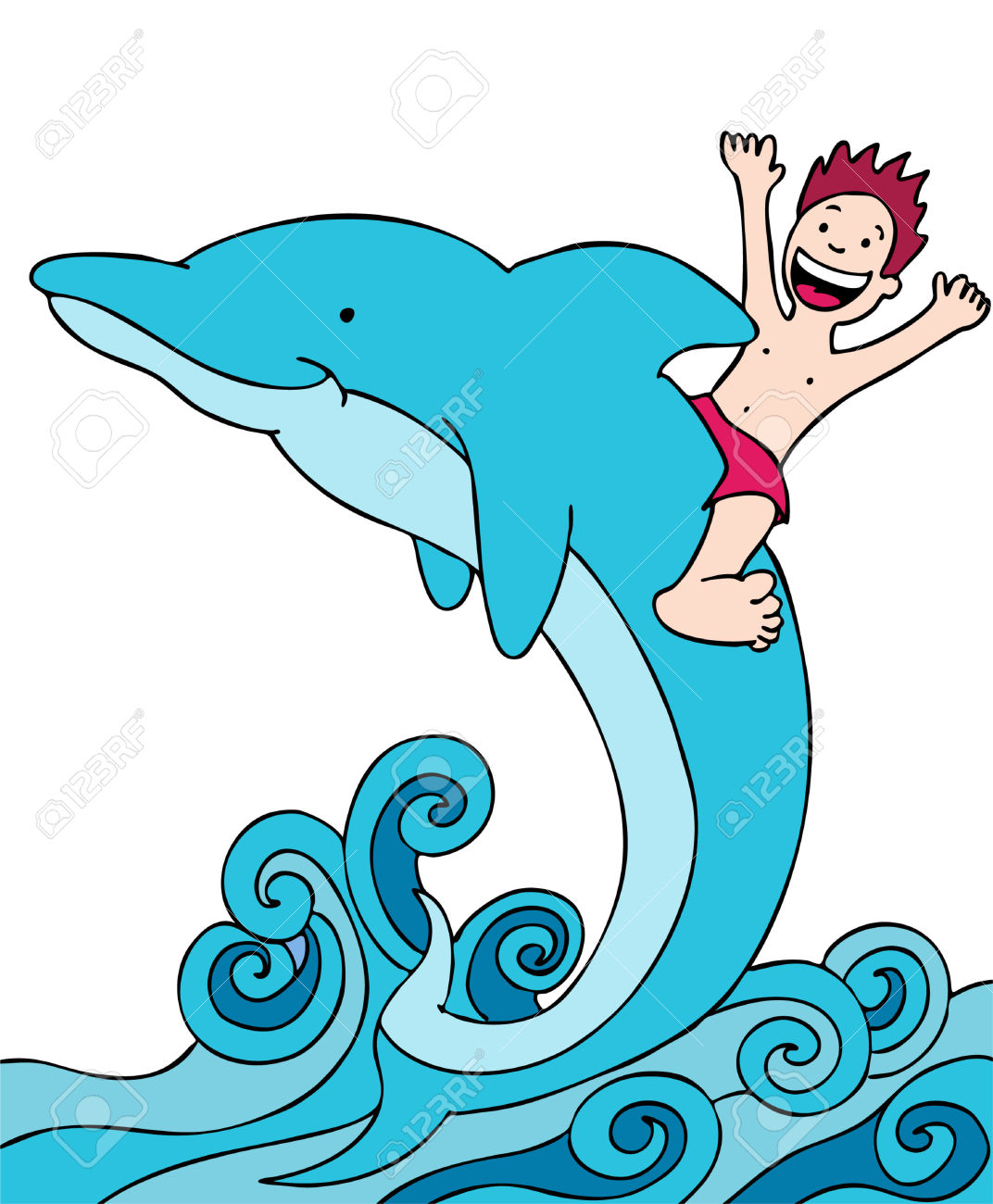 Child Rides Dolphin Royalty Free Cliparts, Vectors, And Stock.