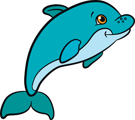 Clip Art Of Baby Dolphin Clip Art, Vector Images & Illustrations.