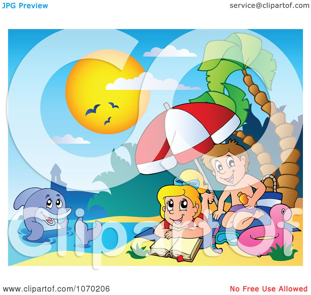 Clipart Dolphin Near Children Applying Sunblock On A Beach.
