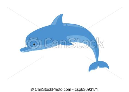 Cute funny dolphin jump out of water. Friendly ocean mammal..