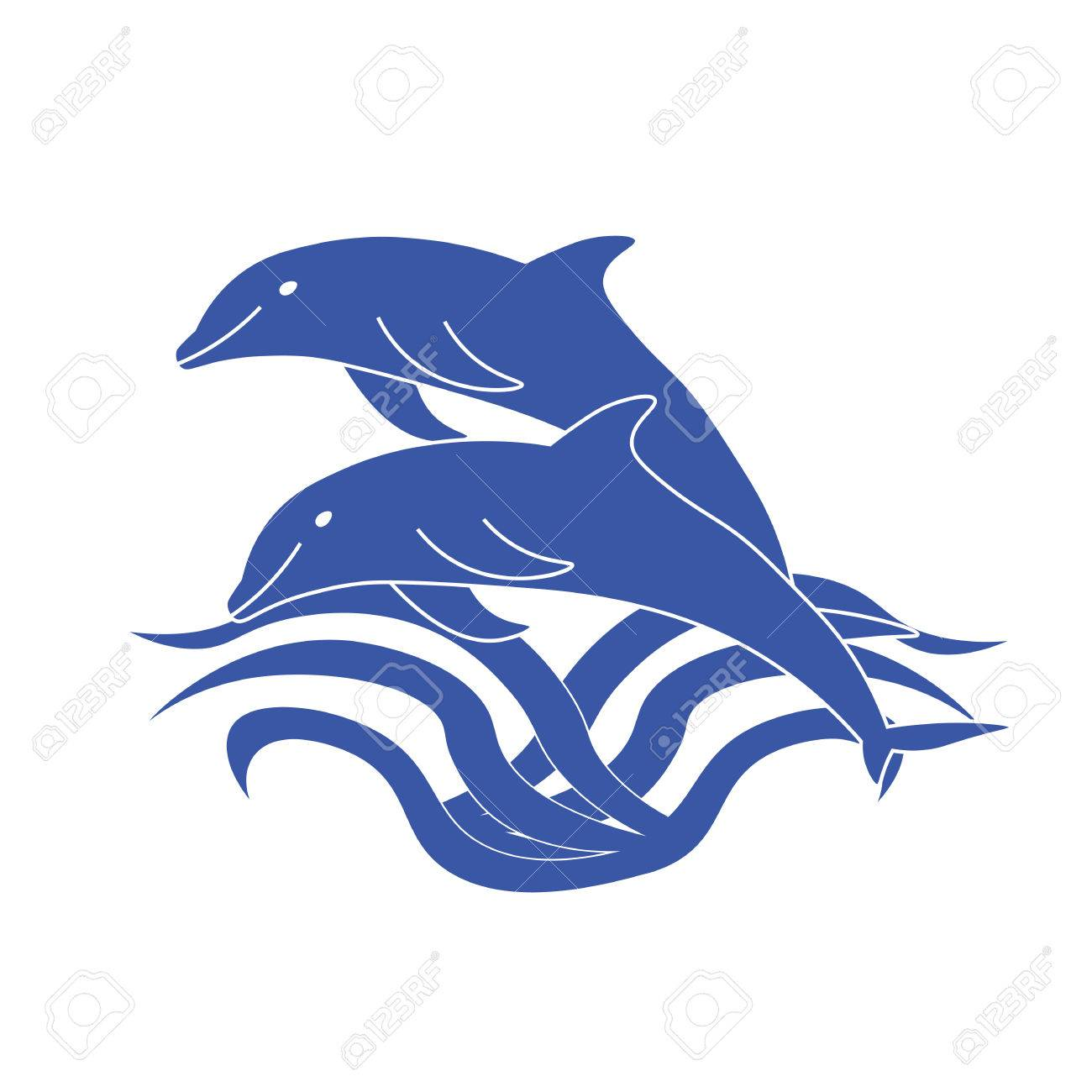 Two dolphins jumping out of the water. Two cute blue Dolphin.