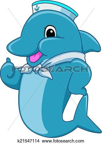 Clipart of Sailor Dolphin Mascot k21547114.
