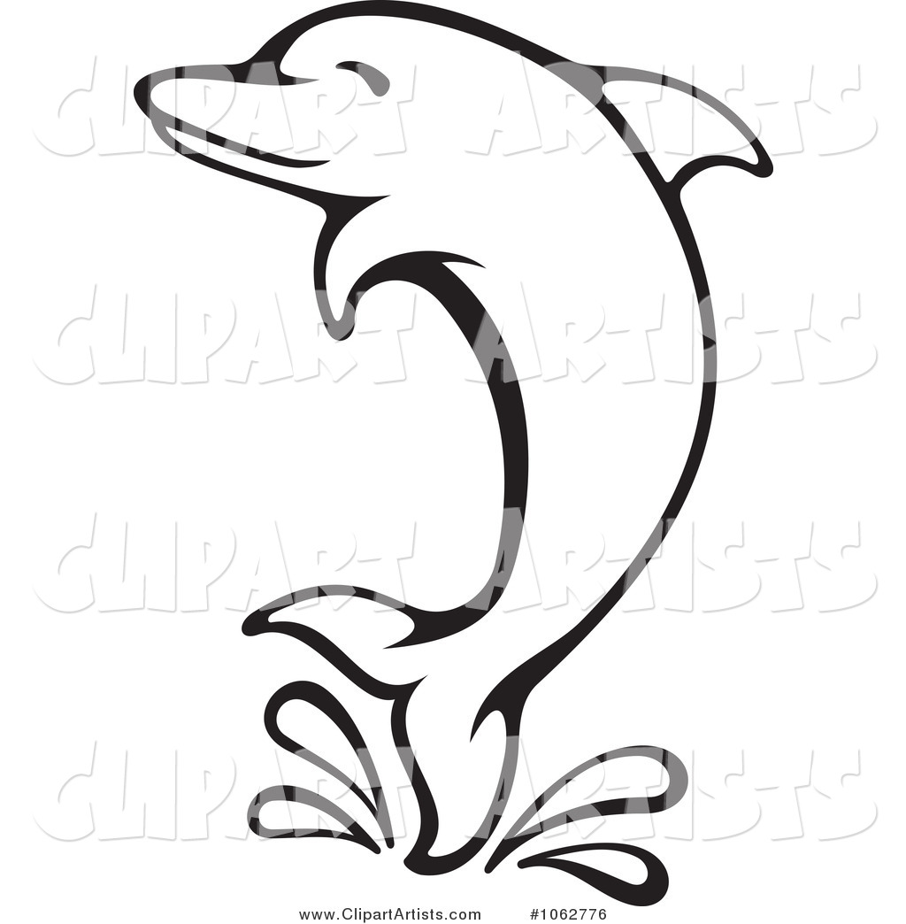 Jumping Dolphin Outline.