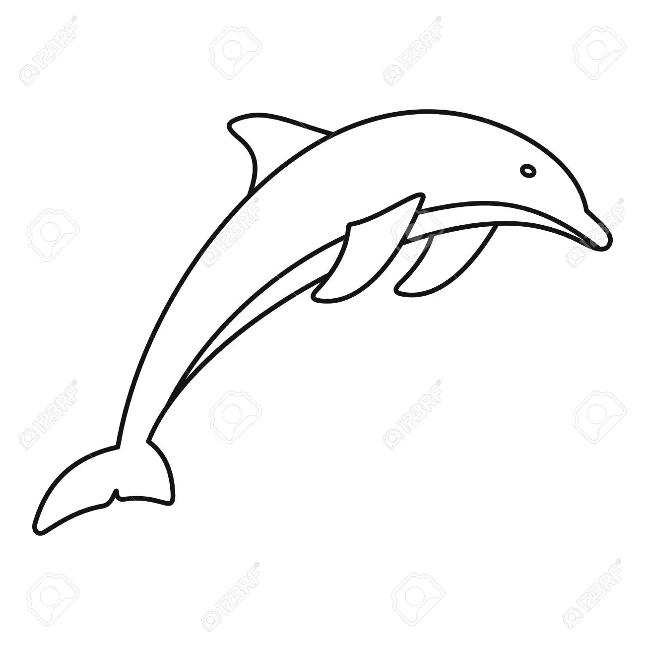 Dolphin icon. Outline illustration of dolphin vector icon for...