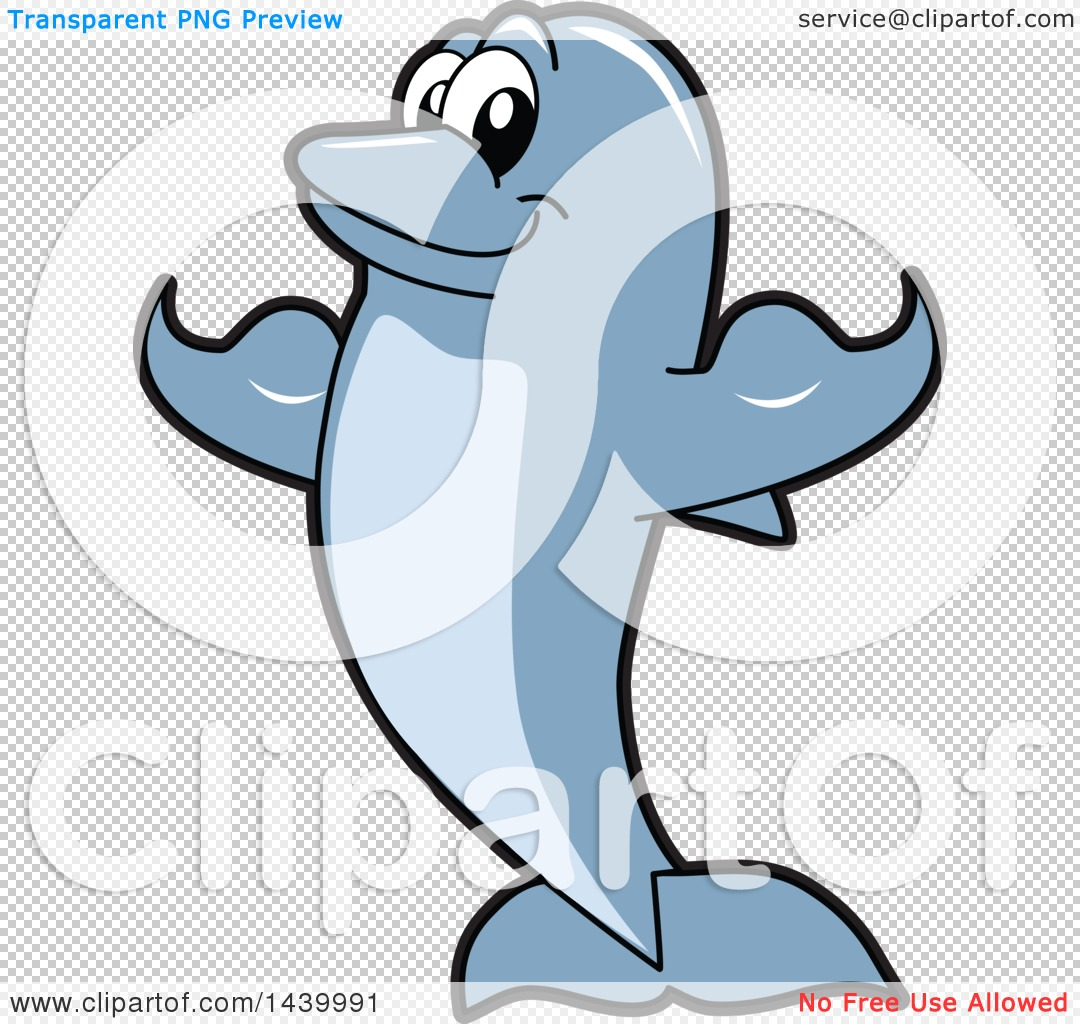 Clipart of a Porpoise Dolphin School Mascot Character Flexing.