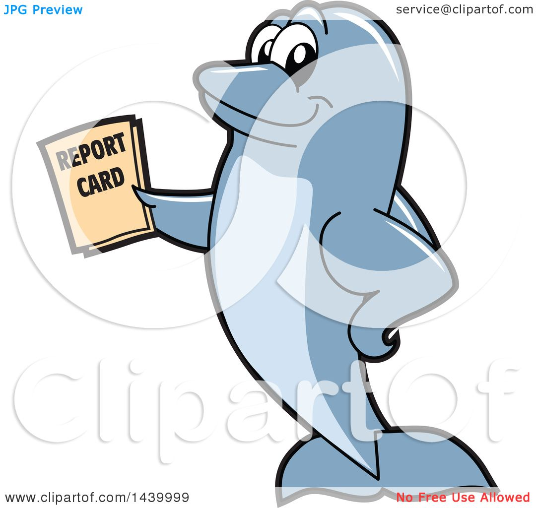 Clipart of a Porpoise Dolphin School Mascot Character Holding a.