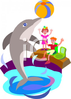Dolphin show clipart #14