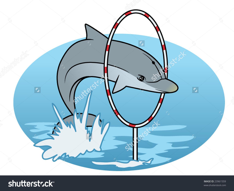 Dolphin Porpoise Jumping Through Hoop Stock Vector 23961559.