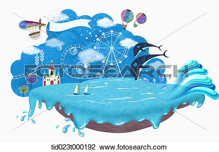 Stock Photo of illustration of dolphin show in an amusement park.