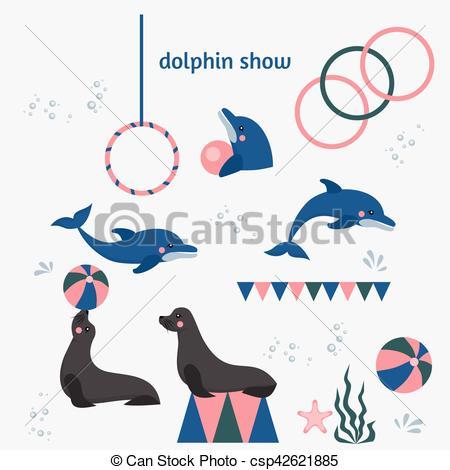 Vector of dolphin show, dolphinarium, sea lion, seal, aqua circus.