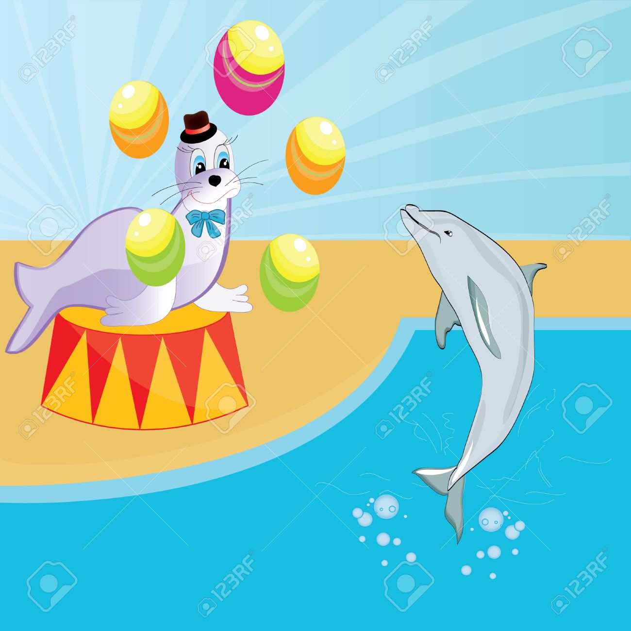 Seal And Dolphin Show At The Circus Baby Beautiful Illustration.