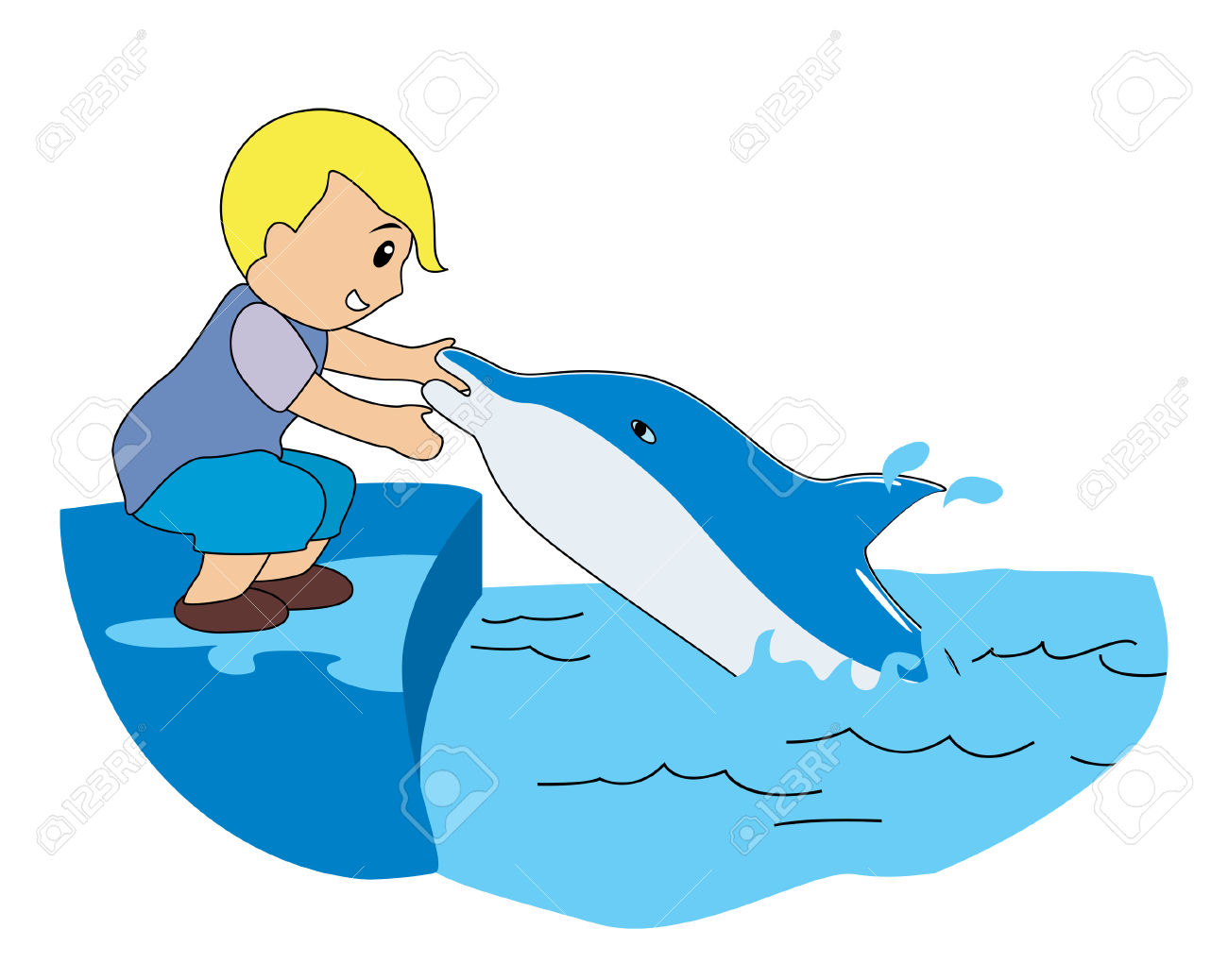 Boy Playing With Dolphin Royalty Free Cliparts, Vectors, And Stock.