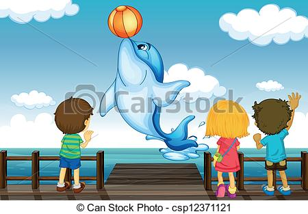 Clipart Vector of A jumping dolphin and sea port.