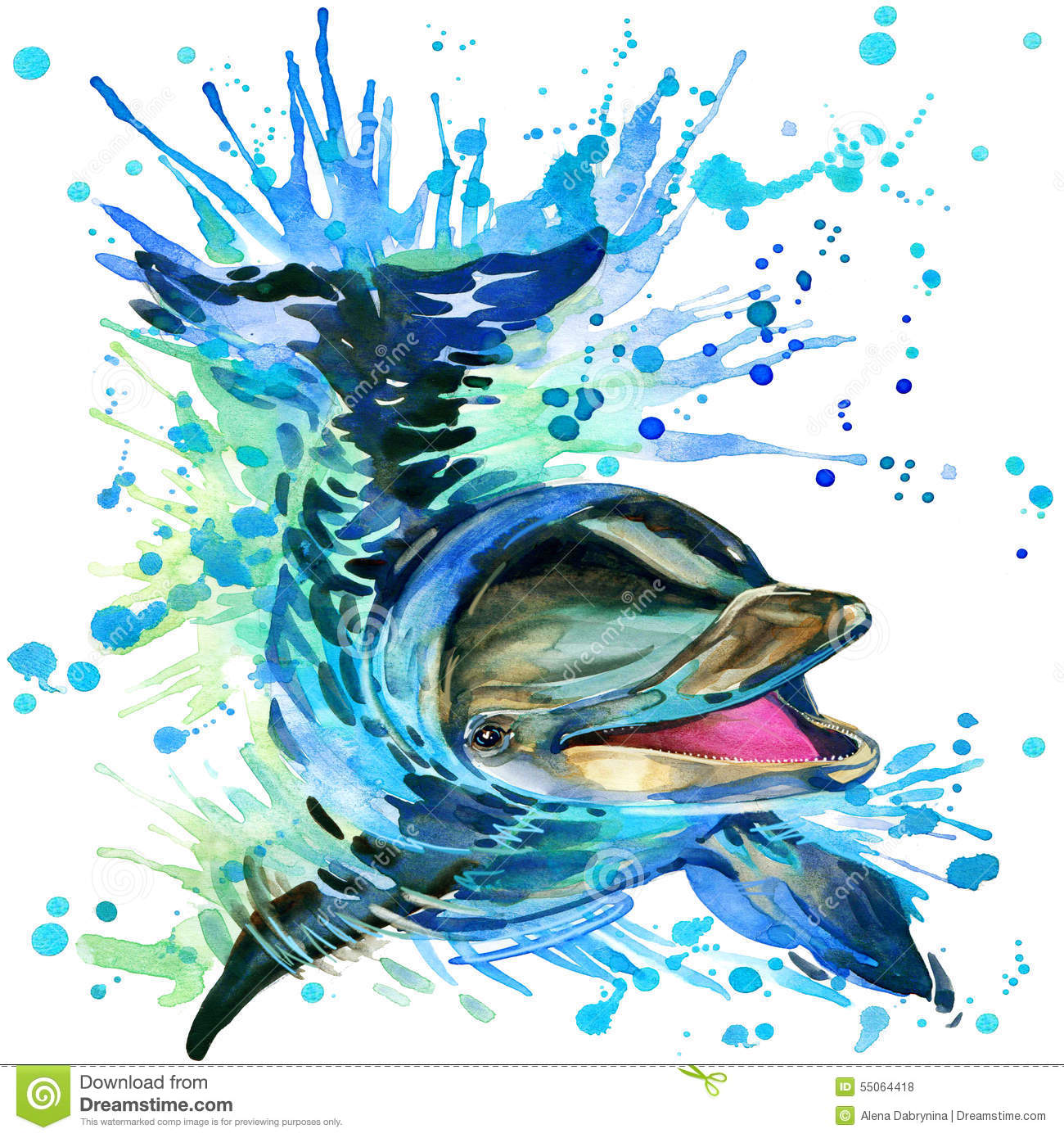 Dolphin Illustration With Splash Watercolor Textured Background.