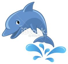 Clipart Splashing Dolphin Outline.