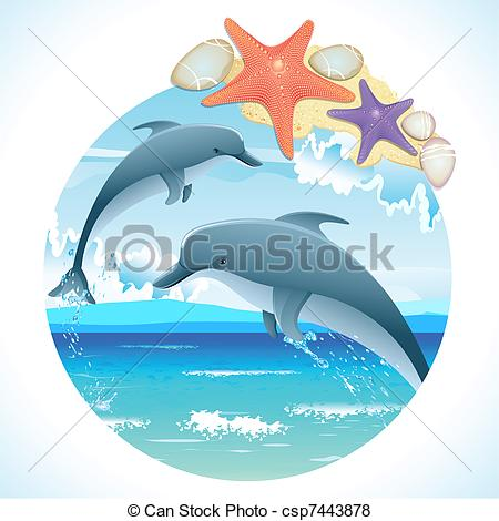 Vector Illustration of Jumping dolphins.
