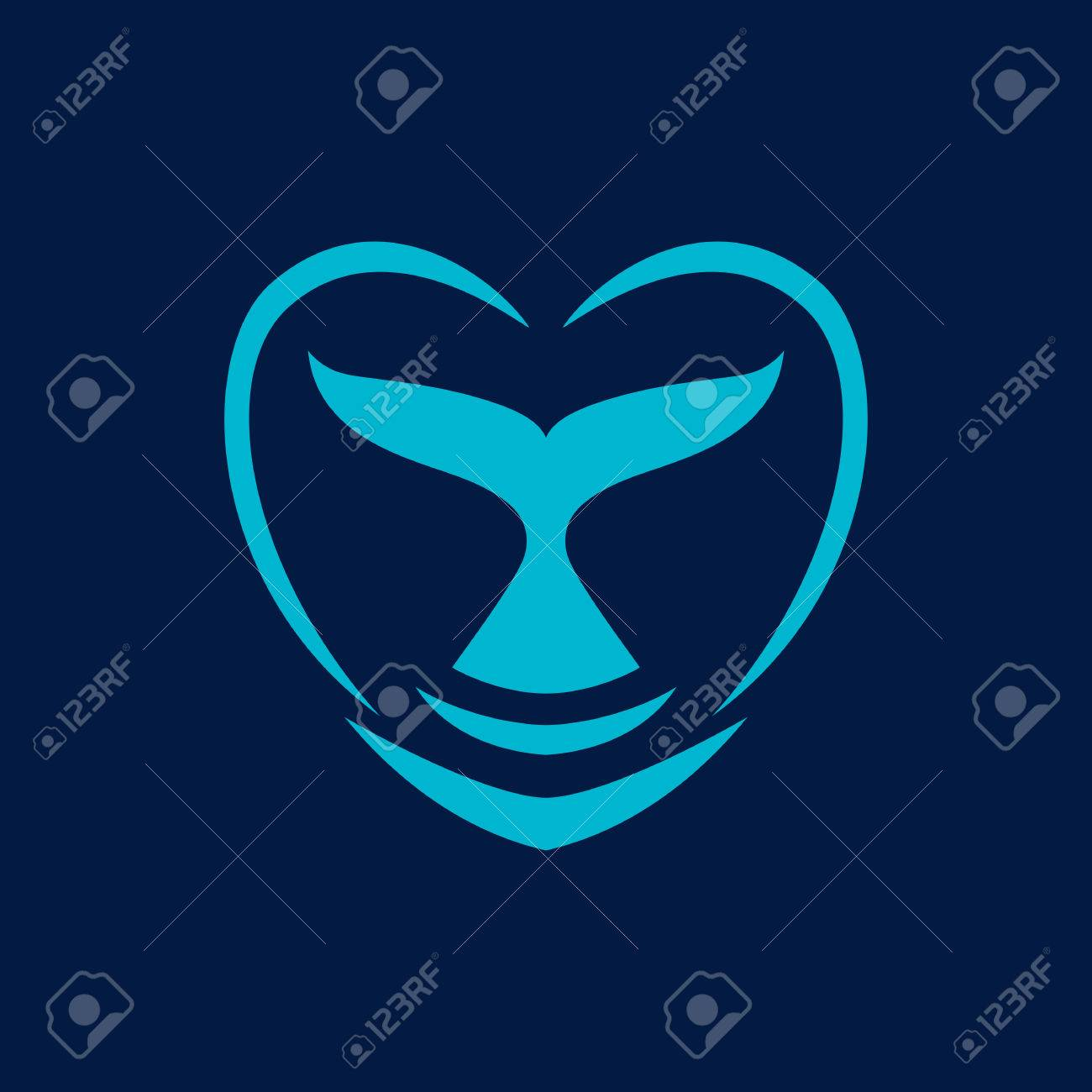 whale dolphin tail heart sign emblem vector illustration.