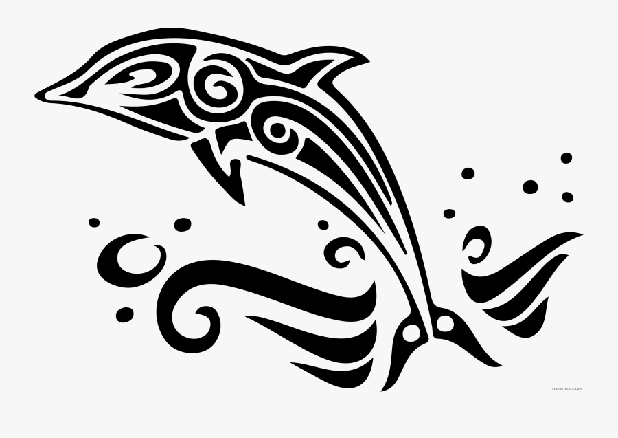 Black And White Dolphin Clipart.