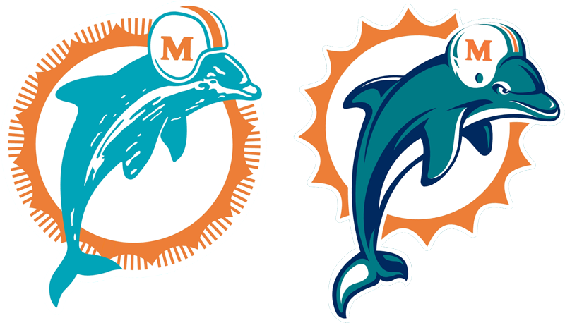 Past and present Dolphins logos featured on list of NFL\'s.