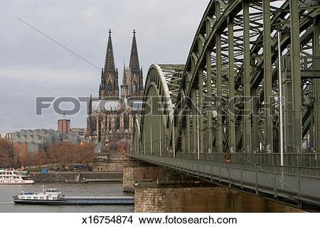 Stock Photo of Germany, Cologne, Franken Platz Kolner Dom bridge.