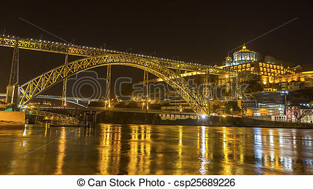 Stock Photo of Famous Dom Luis I Bridge at night time in Porto.