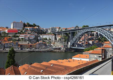 Stock Photography of Porto and Dom Luis I bridge as seen from Vila.