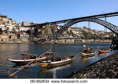 Stock Photo of ?Rabelos? Port wine carring barges, Douro river and.