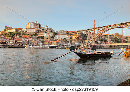 Stock Images of Porto, Portugal: sunset view of iconic Dom Luis.
