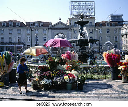 Stock Images of 34 Portugal Lisbon Rossio Or Praca Dom Pedro Iv.