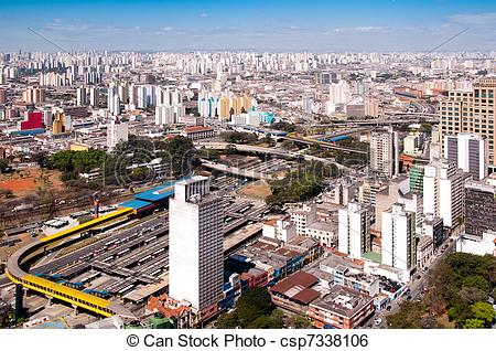 Stock Image of bus terminal in park Dom Pedro, Sao Paulo.