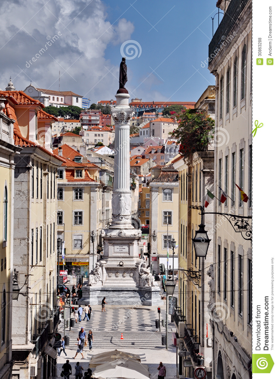 Statue Of Dom Pedro IV, Lisbon Editorial Stock Photo.