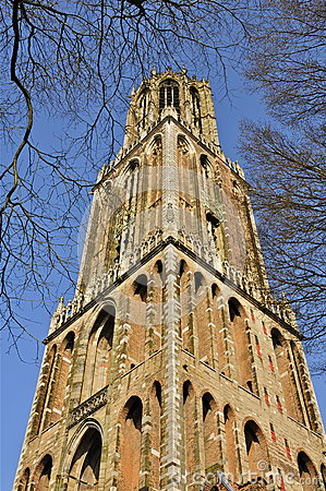 Dom Tower Of St Martin's Cathedral In Utrecht Stock Photo.