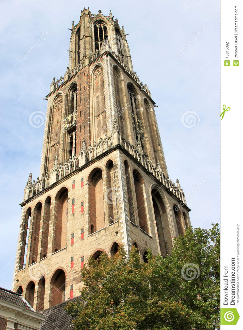 Gothic Dom Tower Of Utrecht, Netherlands Stock Photo.
