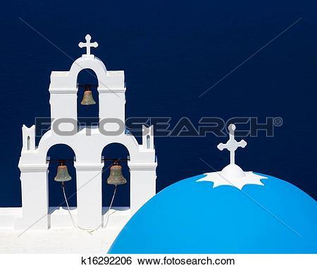 Stock Images of Blue Dome Church Santorini Greece k16292206.