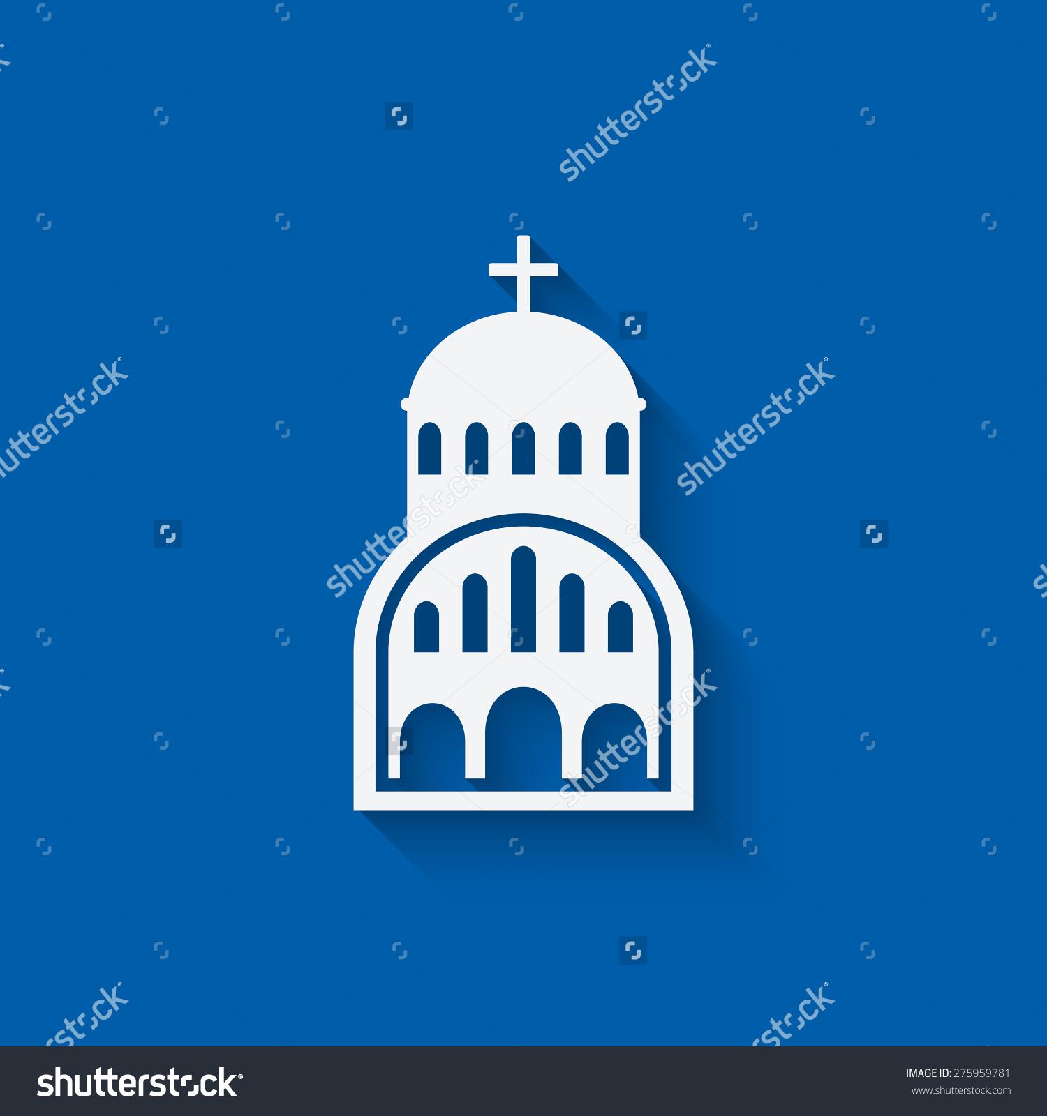 Greek Church Symbol On Blue Background Stock Vector 275959781.