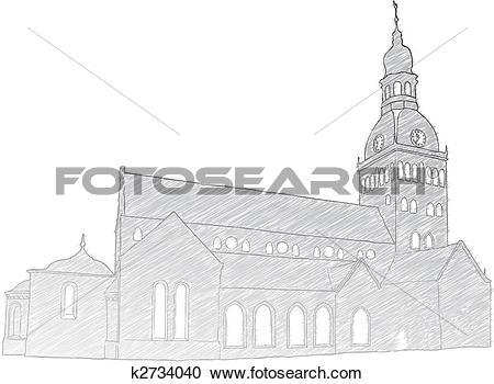 Clipart of Riga Dome Church k2734040.