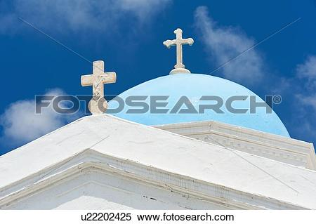 Stock Image of Greece, Cyclades Islands, Mykonos, Church dome with.