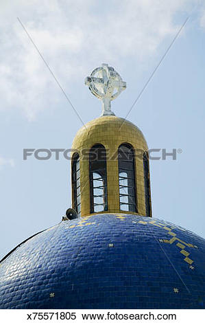 Stock Image of Church dome and cross, Acapulco, Mexico x75571805.