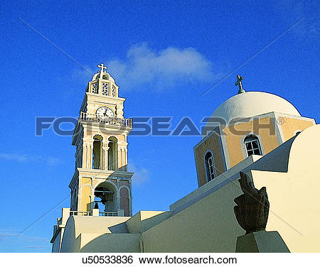 Stock Images of cross, outdoors, dome, tower, church, Aegean sea.